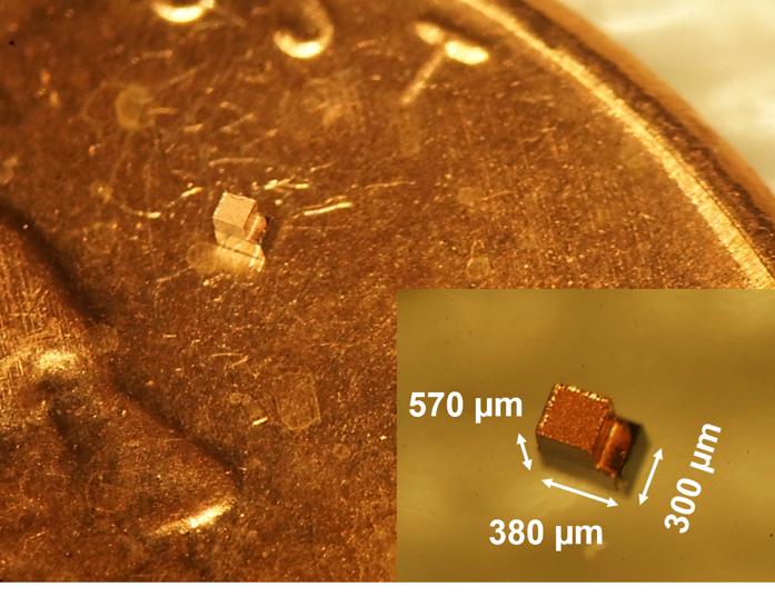 芯片与一分硬币的对比照片。